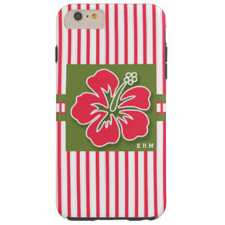 Girly Bold Vertical Stripe Pink Hibiscus Monogram Tough iPhone 6 Plus Case