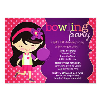 Girly Bowling Birthday Party 13 Cm X 18 Cm Invitation Card