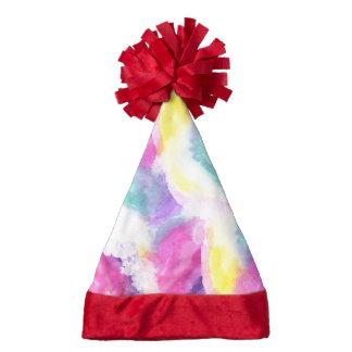 Girly bright pastel watercolor brush strokes santa hat