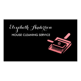 Girly Broom Pink and Black House Cleaning Service Pack Of Standard Business Cards