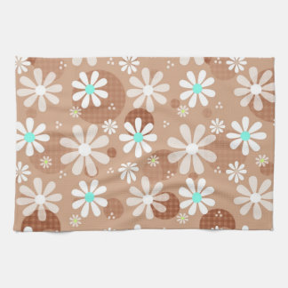 Girly Brown Daisy Flower Pattern Cute Aqua Dots Tea Towel