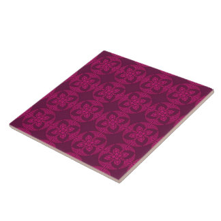 Girly Burgundy and Pink Geometric Floral Ceramic Tiles