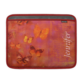 Girly Butterfly Collage on Orange and Pink Sleeve For MacBook Air