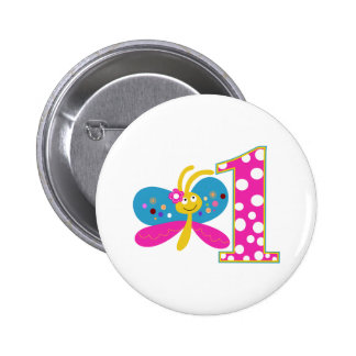 Girly Butterfly First Birthday 6 Cm Round Badge