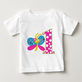 Girly Butterfly First Birthday Baby T-Shirt