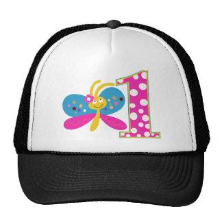 Girly Butterfly First Birthday Cap