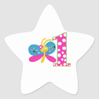 Girly Butterfly First Birthday Stickers