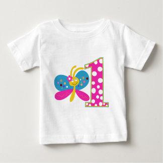 Girly Butterfly First Birthday Shirt