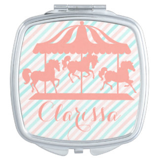 Girly Carousel Silhouette, Add Name Mirror For Makeup