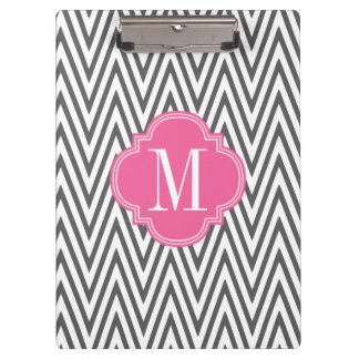 Girly Charcoal & Pink Chevron Stripes Custom Clipboard