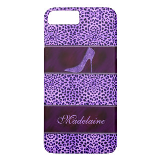 Girly Cheetah Print in Purple with Stiletto iPhone 7 Plus Case