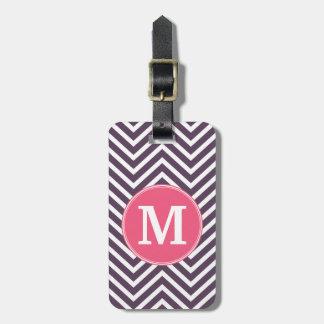 Girly Chevron Pattern with Monogram - Pink Purple Bag Tag