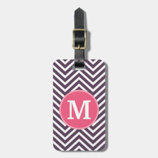 Girly Chevron Pattern with Monogram - Pink Purple Luggage Tag