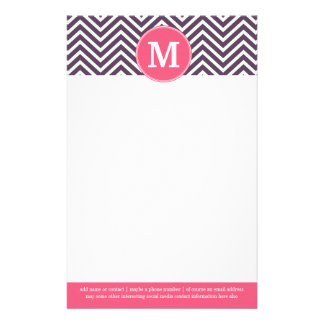 Girly Chevron Pattern with Monogram - Pink Purple Stationery