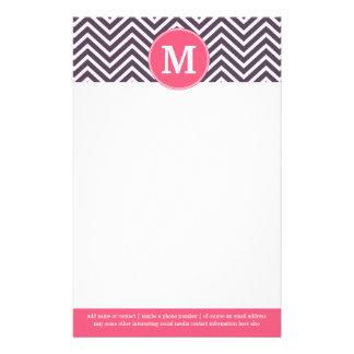 Girly Chevron Pattern with Monogram - Pink Purple Stationery Design