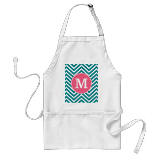 Girly Chevron Pattern with Monogram - Pink Teal Standard Apron