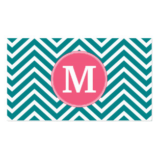Girly Chevron Pattern with Monogram - Pink Teal Pack Of Standard Business Cards