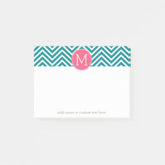 Girly Chevron Pattern with Monogram - Pink Teal Post-it Notes
