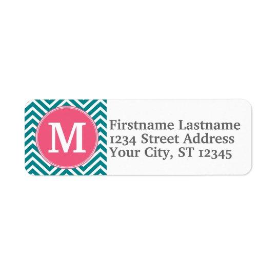 Girly Chevron Pattern with Monogram - Pink Teal Return Address Label