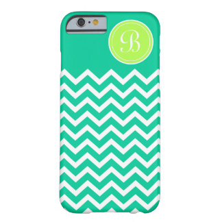 Girly Chevron Turquoise and Lime Custom Monogram Barely There iPhone 6 Case