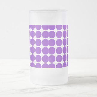 Girly Chic Accessory Party Treat Violet Polka Dots Frosted Glass Beer Mug