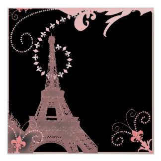 girly chic black and pink paris eiffel tower poster