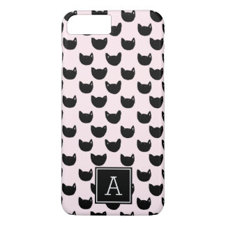 Girly chic  black cat PINK Monogram Personalized iPhone 8 Plus/7 Plus Case