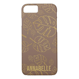 Girly chic brown gold tropical leaves iPhone 8/7 case