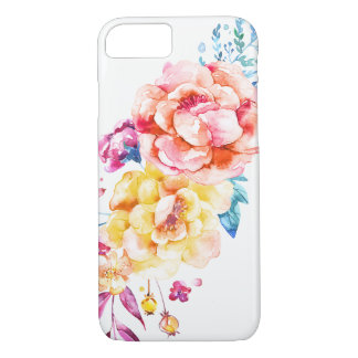 Girly Chic Coral Pretty Trendy Watercolor Floral iPhone 8/7 Case