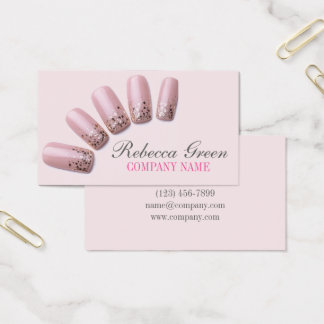 girly chic elegant manicure nails nail salon business card