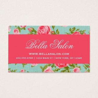Girly Chic Elegant Vintage Floral Roses Business Card