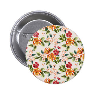Girly Chic Floral Pattern Watercolor Illustration 6 Cm Round Badge