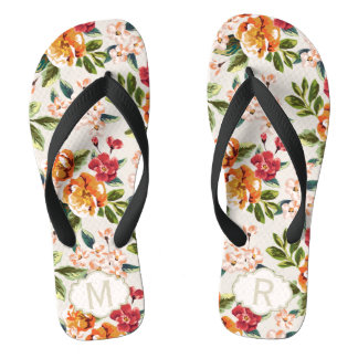 Girly Chic Floral Pattern with Monogram Name Thongs