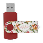 Girly Chic Floral Pattern with Monogram Name USB Flash Drive