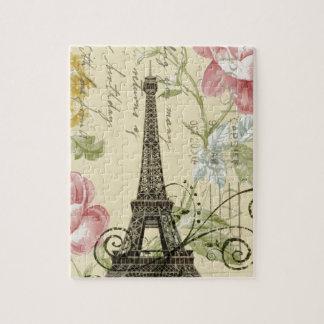 Girly Chic floral Vintage Paris Eiffel Tower Puzzle