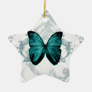 Girly Chic french country Bohemian blue Butterfly Ceramic Ornament