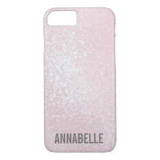 Girly chic glossy shine light pink personalized iPhone 8/7 case