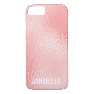 Girly chic glossy shine pink add your name iPhone 8/7 case
