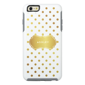 Girly Chic Gold Glitter Polka Dots Monogram Name OtterBox iPhone 6/6s Plus Case