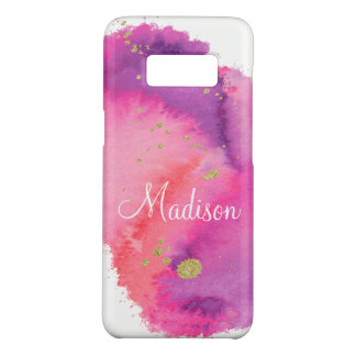 Girly Chic Gold Pink Watercolor Monogram Case-Mate Samsung Galaxy S8 Case