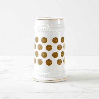 Girly Chic Gold Polka Dots Glitter Photo Print Beer Stein