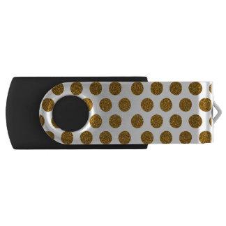 Girly Chic Gold Polka Dots Glitter Photo Print Swivel USB 2.0 Flash Drive