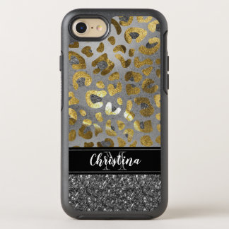 Girly Chic Gold Silver Bling Animal Print Monogram OtterBox Symmetry iPhone 8/7 Case
