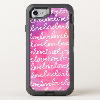 Girly Chic Love Pink Gold Modern Watercolor OtterBox Defender iPhone 8/7 Case
