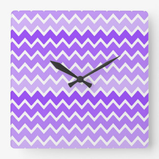 Girly Chic Purple Lavender Lilac Ombre Chevron Square Wall Clock