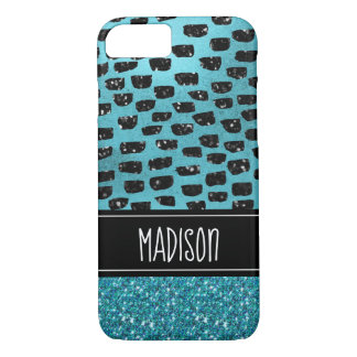 Girly Chic Teal Black Modern Trendy Custom iPhone 8/7 Case