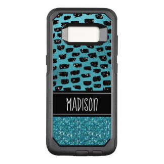 Girly Chic Teal Black Trendy Modern Custom OtterBox Commuter Samsung Galaxy S8 Case
