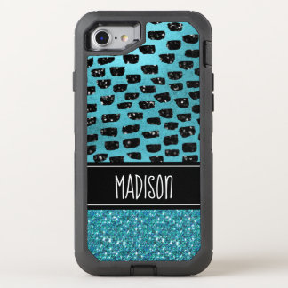 Girly Chic Teal Black  Trendy Modern Custom OtterBox Defender iPhone 8/7 Case