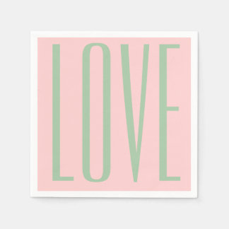 girly chic valentine's day LOVE blush pink Disposable Napkin
