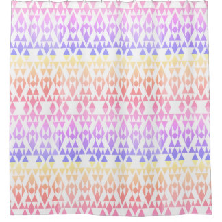 Girly Colorful Aztec White Custom Shower Curtain